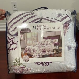 Angelica 300-Th Floral Twin 5 Piece Comforter Set